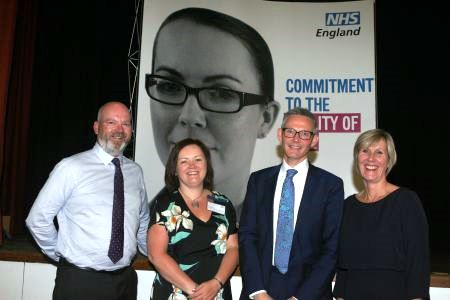 Pictured (left to right): Dr Graham Mennie (GP Lead for Clinical Programmes, Gloucestershire CCG), Katrina Venerus (LOCSU Managing Director), Dr David Geddes (National Head of Primary Care Commissioning, NHS England), Professor Carrie MacEwen, President of The Royal College of Ophthalmologists)