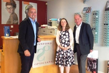 from left to right, Charles Greenwood, Kent and Medway Local Optical Committee, Jo Connell, Sanford Opticians and Sir Roger Gale, MP for Thanet North