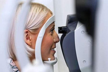 Leicester resident Danielle Geraghty has her eyes tested on board the Vision Express Vision Van