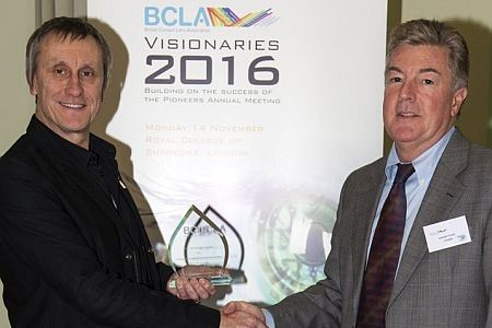 Pictured above: BCLA President Brian Tompkins presenting this year's Pioneers award to Prof Graeme Young