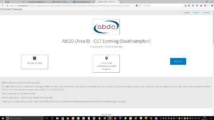 How to book onto an ABDO CET or CPD event